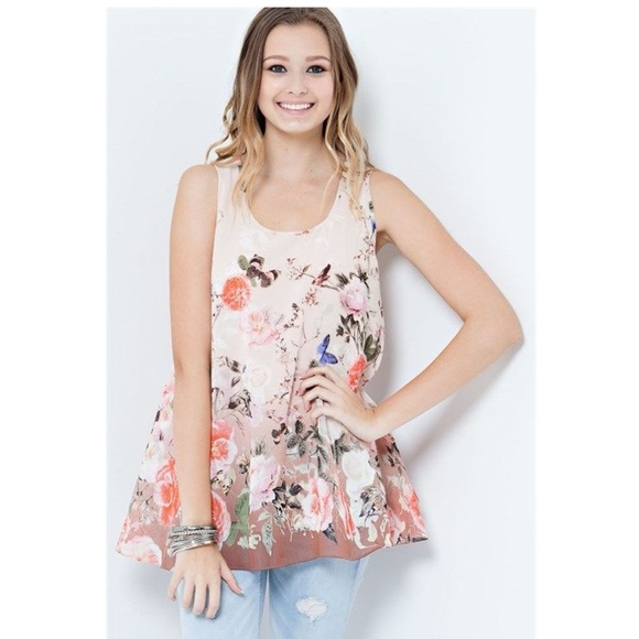 fad0df7a8bc1ae Entro Peach Floral Print Sleeveless Blouse. Boutique. Elan